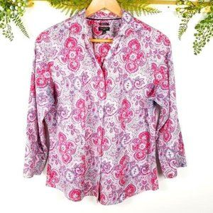 🌼TALBOTS《C11》red pink paisley button down